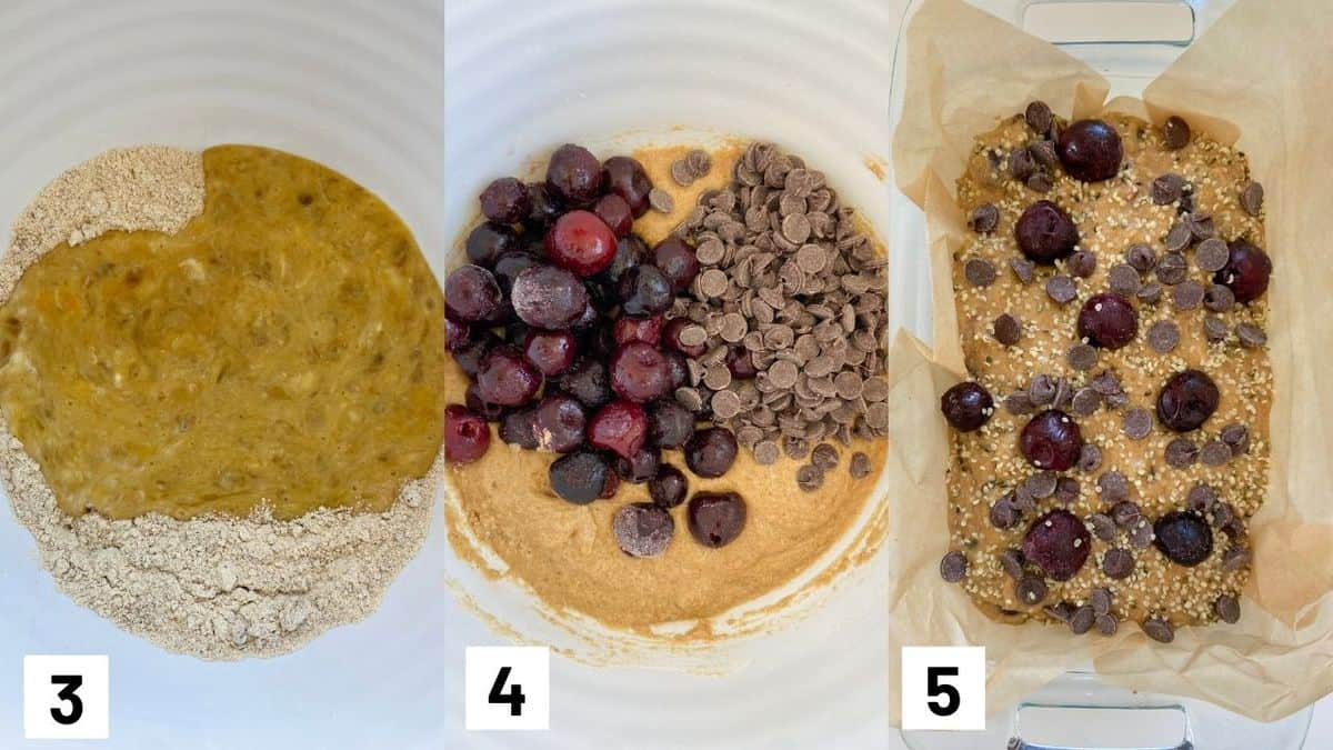 Three side by side images showing how to combine the wet and dry batter, adding in cherries and dark chocolate, and pouring into prepared loaf pan.