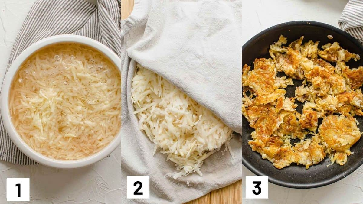 Three side by side images showing how to prepare and cook the shredded potato.
