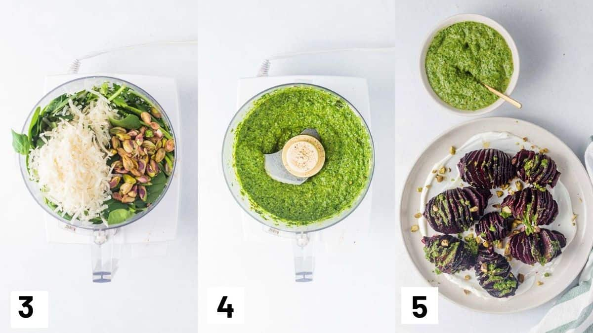 Three side by side images showing how to prepare pistachio and garnish the beets.