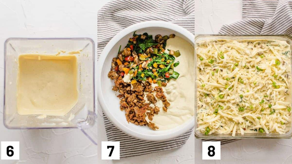 Three side by side images showing how to prepare wet mixture, combining with cooked ingredients, and layering in a casserole dish.