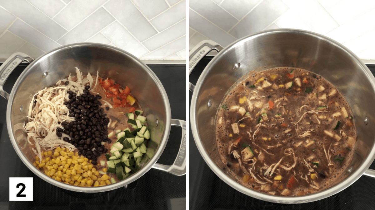 Set of two photos showing beans, chicken, corn, zucchini, and bell peppers added to the pot and then simmered.