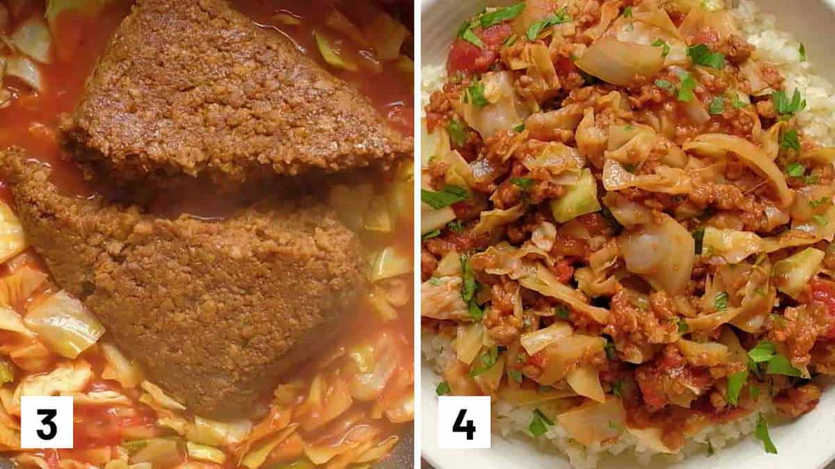 Set of 2 photos showing veggie ground added to the pan and unstuffed cabbage served over cauliflower rice.