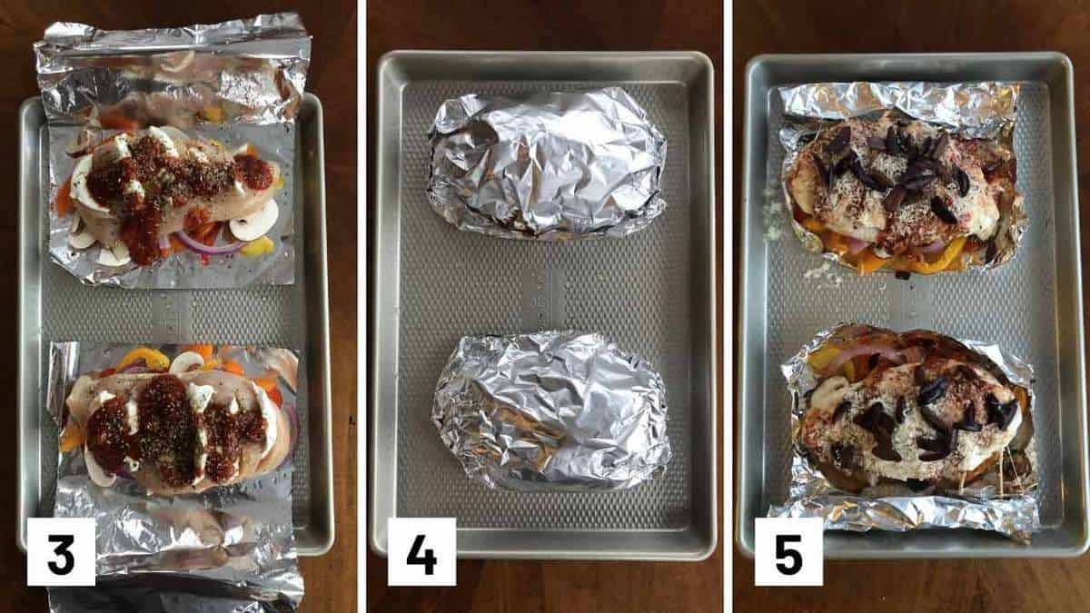 Set of three photos showing chicken placed on top of foil, wrapped up, and how it looks after it's been baked.