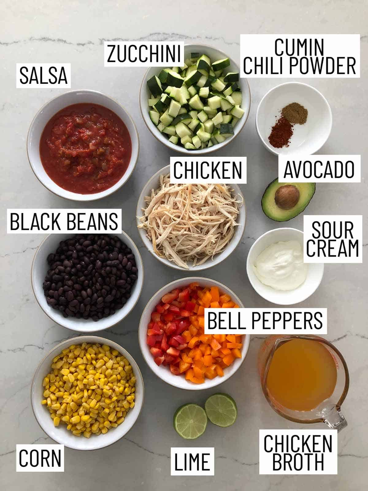 Overhead view of ingredients needed for tortilla soup.
