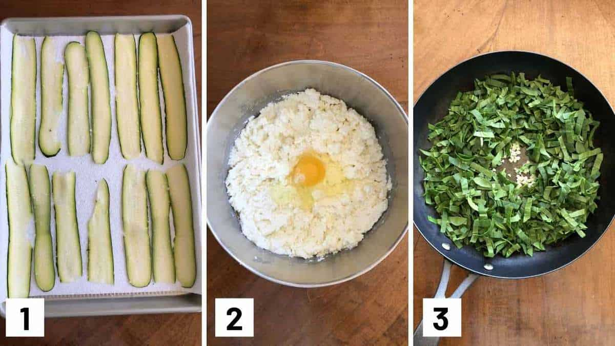 Set of three photos showing zucchini slices on a sheet pan, mixing cheese with egg, and sauteing spinach and garlic.