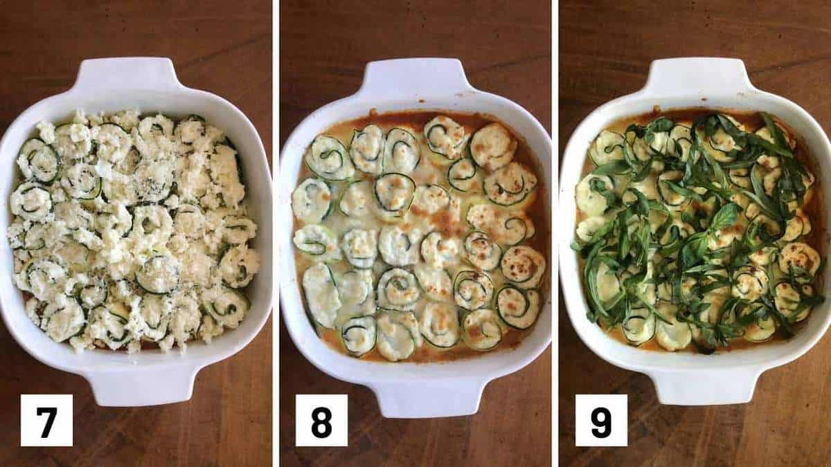 Set of 3 photos showing cheese added to a pan of rolled up zucchini, baked, then topped with basil.