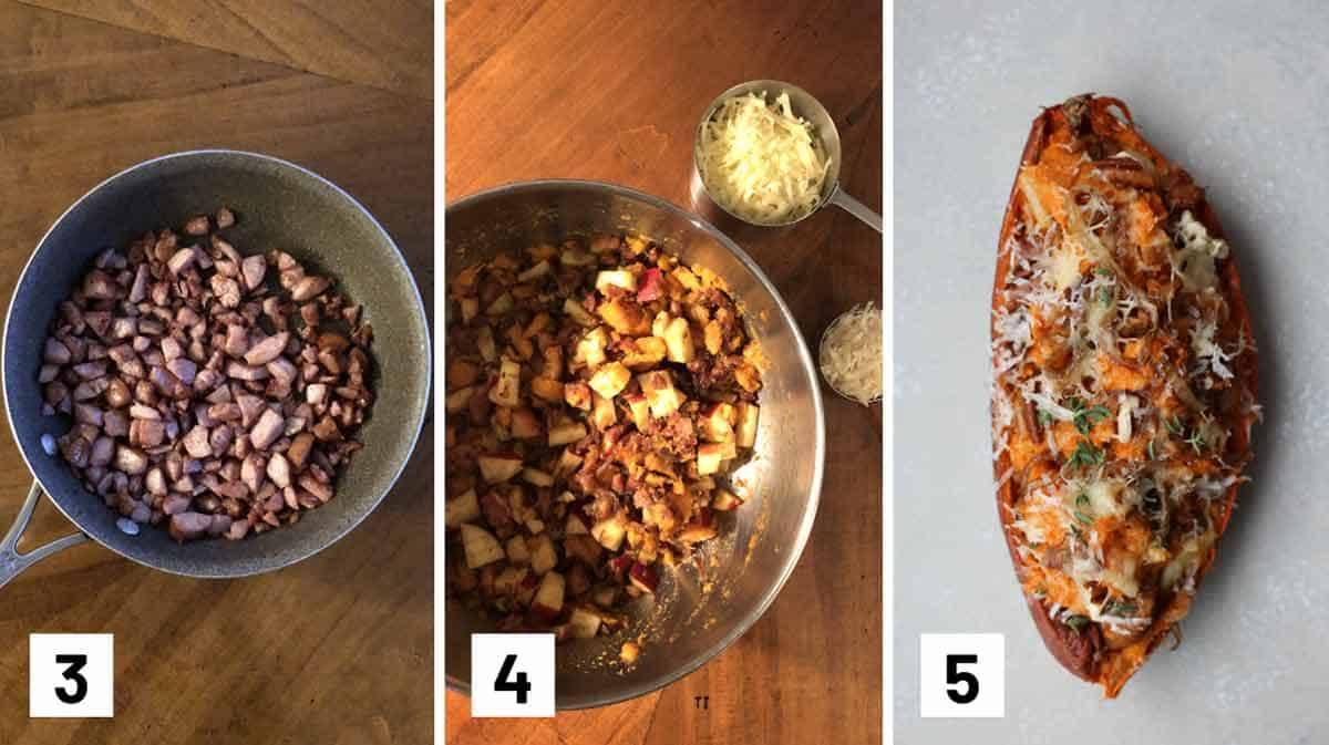 Set of 3 photos showing sausage being sauteed, stuffing being mixed, and a stuffed potato.