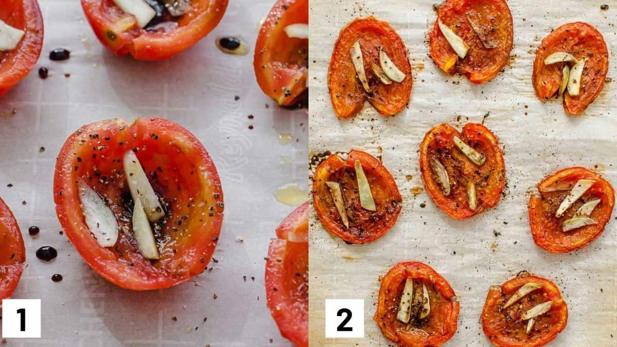 Two side by side images showing how to roast the tomatoes with garlic, balsamic vinegar, and pepper.