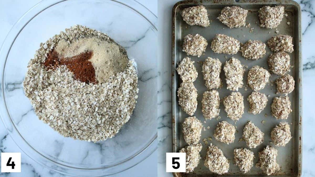 Two side by side images showing how to prepare the dry batter and the prepared baking sheet prior to being heated in the oven.
