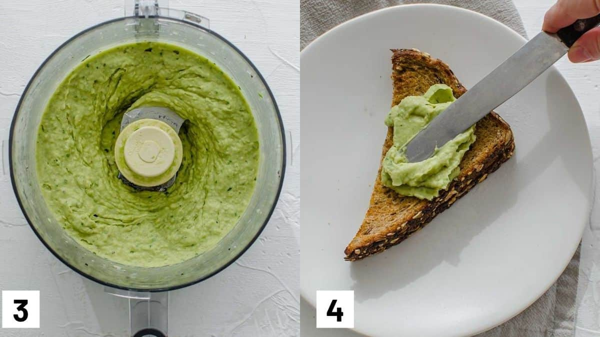 Two side by side images showing how to prepare the mixture in the food processor and spreading onto a piece of toast.