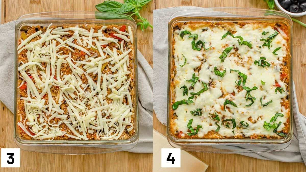 Two side by side images of recipe before and after baking.