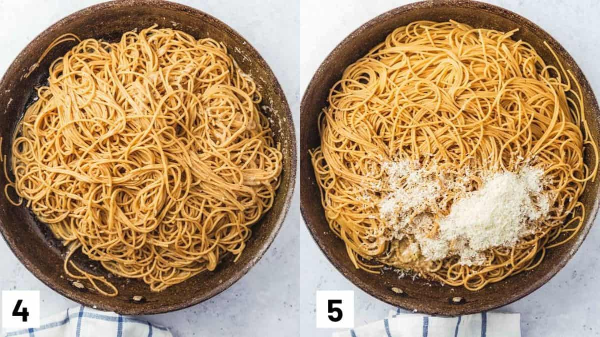 Two side by side images showing how to combine the pasta with the sauce and cheese.