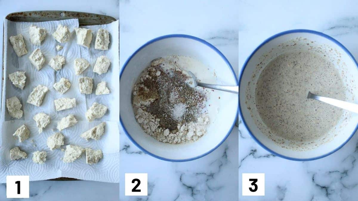 Three side by side images showing how to break up tofu into nugget shapes, and how to prepare the wet batter.