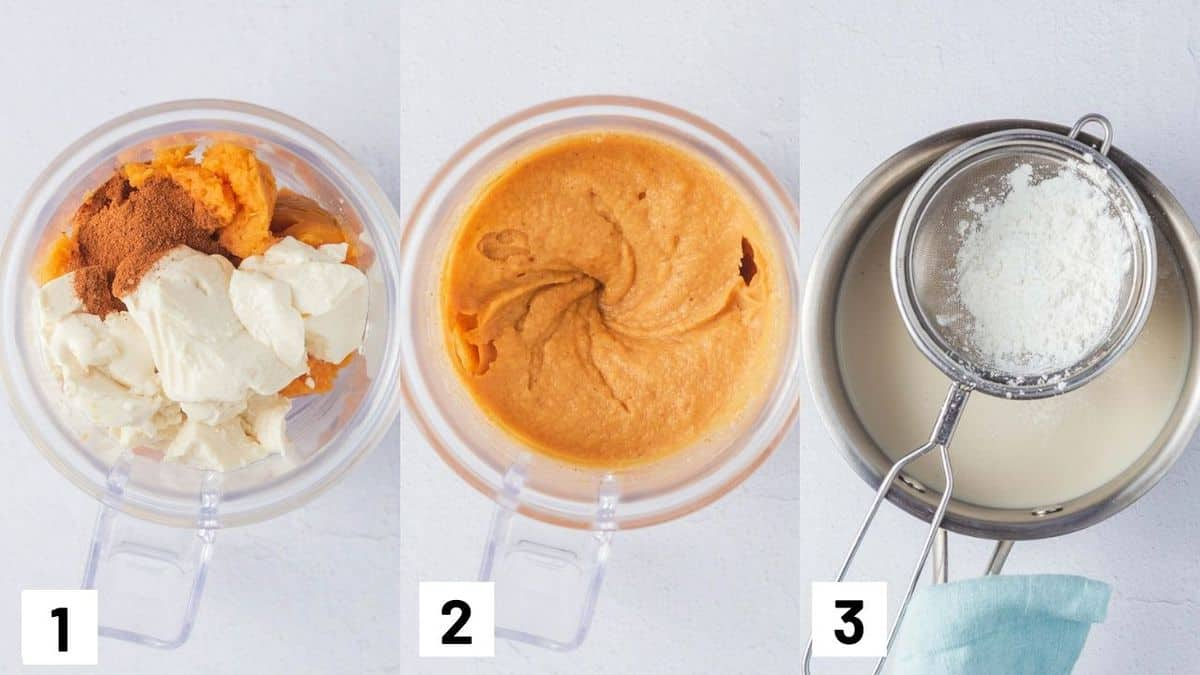 Three side by side images showing how to prepare recipe including combining ingredients in a food processor and heating up plant milk in a pan with cornstarch.