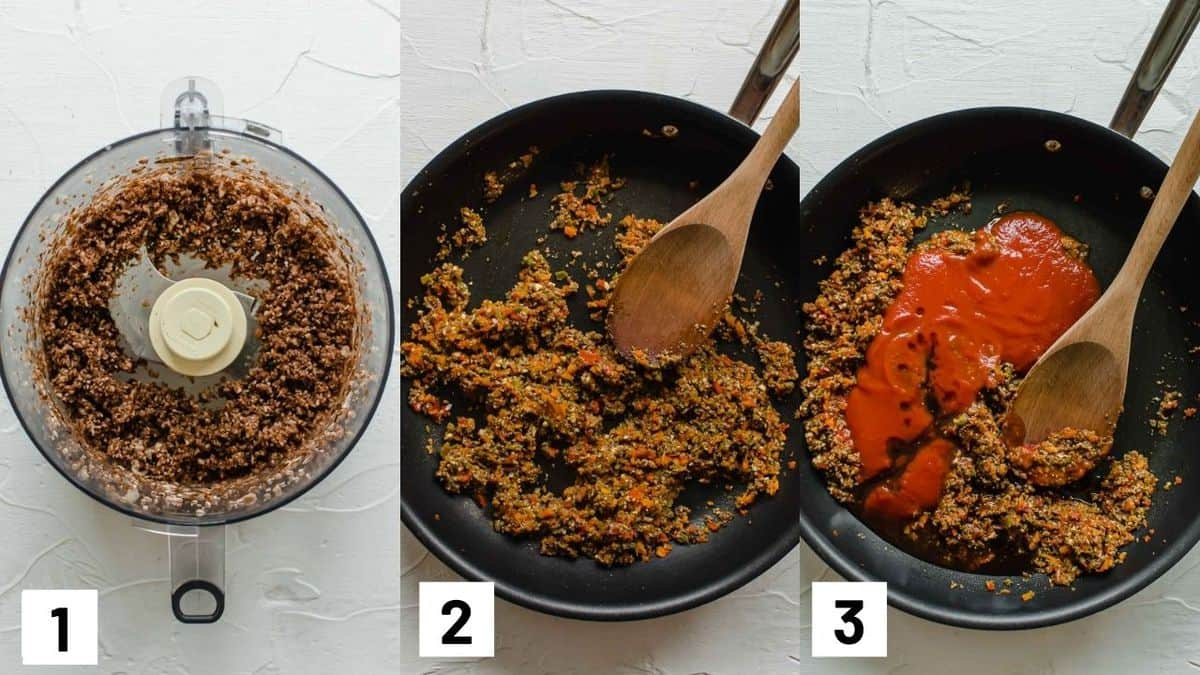 Three side by side images showing how to prepare the sandwich mixture by pulsing the mushrooms in a food processor and sauteeing ingredients in a pan.
