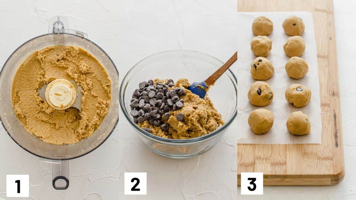 Three side by side images showing how to prepare the batter in a food processor, combining with chocolate chips, and rolling into balls.