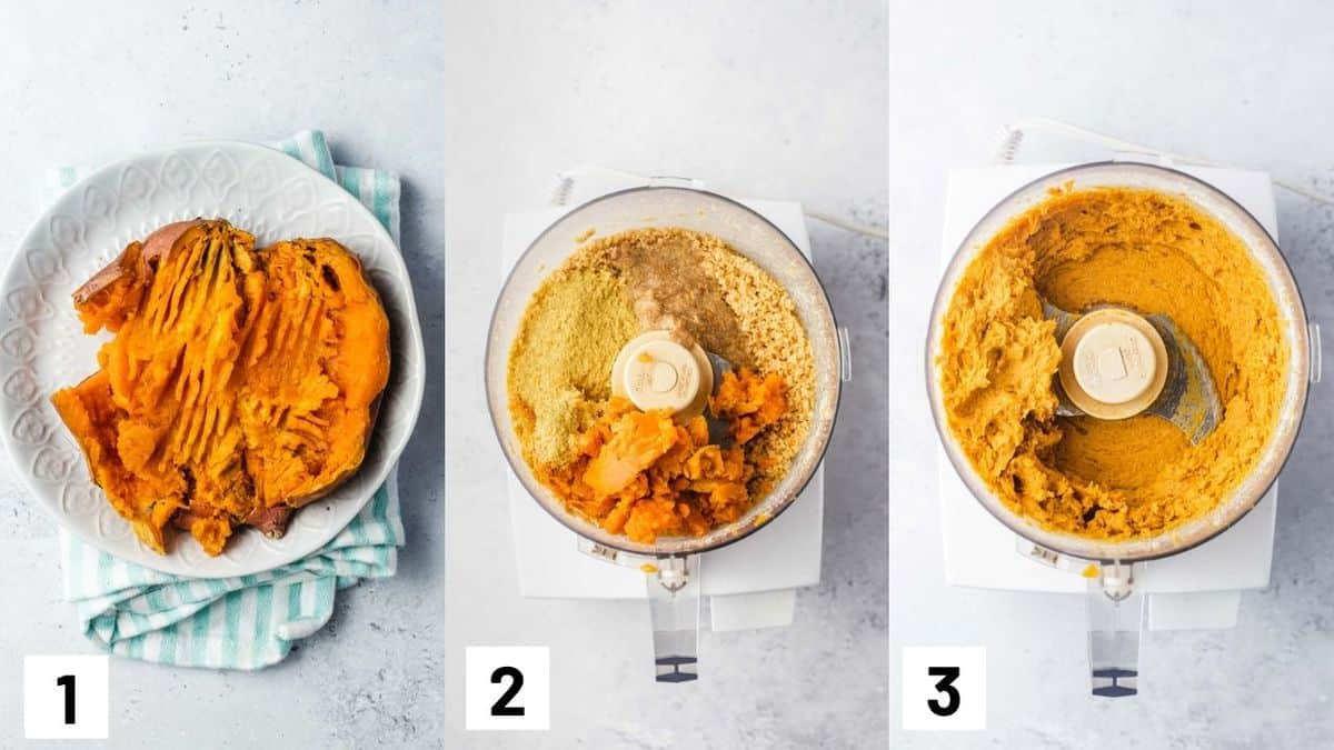 Three side by side images showing how to cook sweet potato, and adding all ingredients into a food processor until blended.