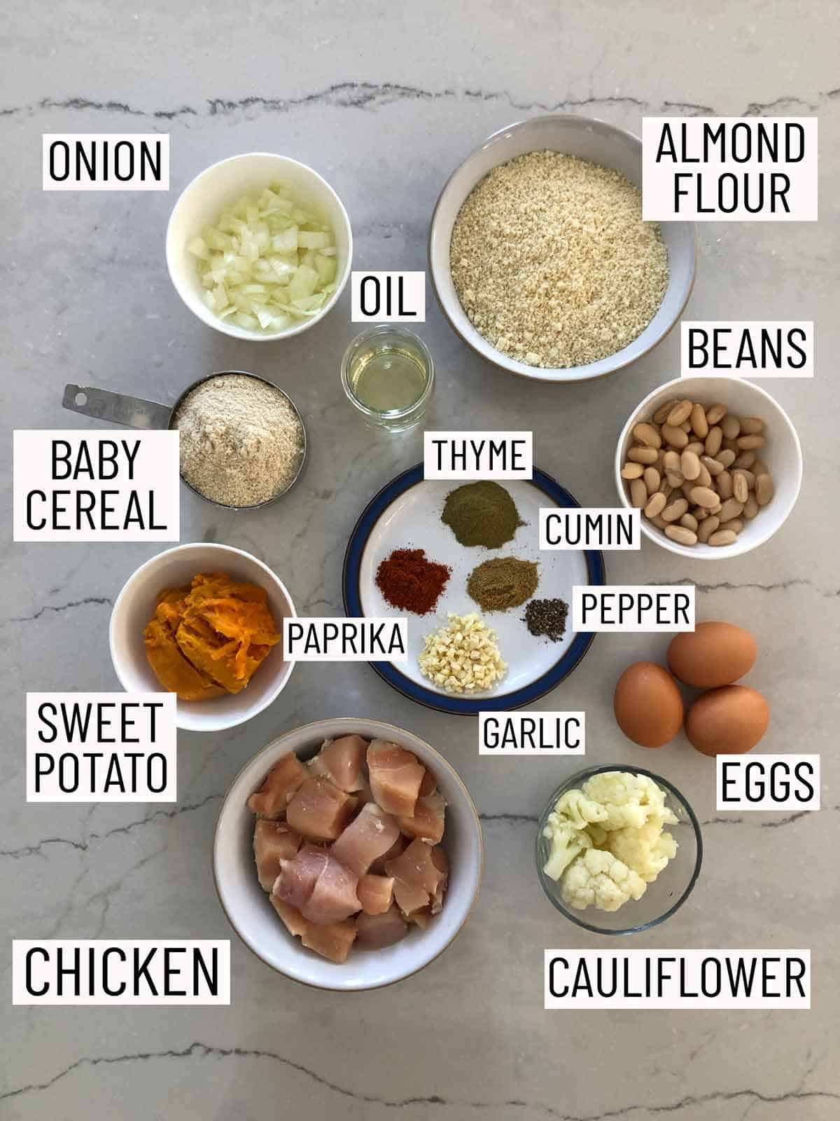 Overhead image of ingredients needed for healthy chicken nuggets.