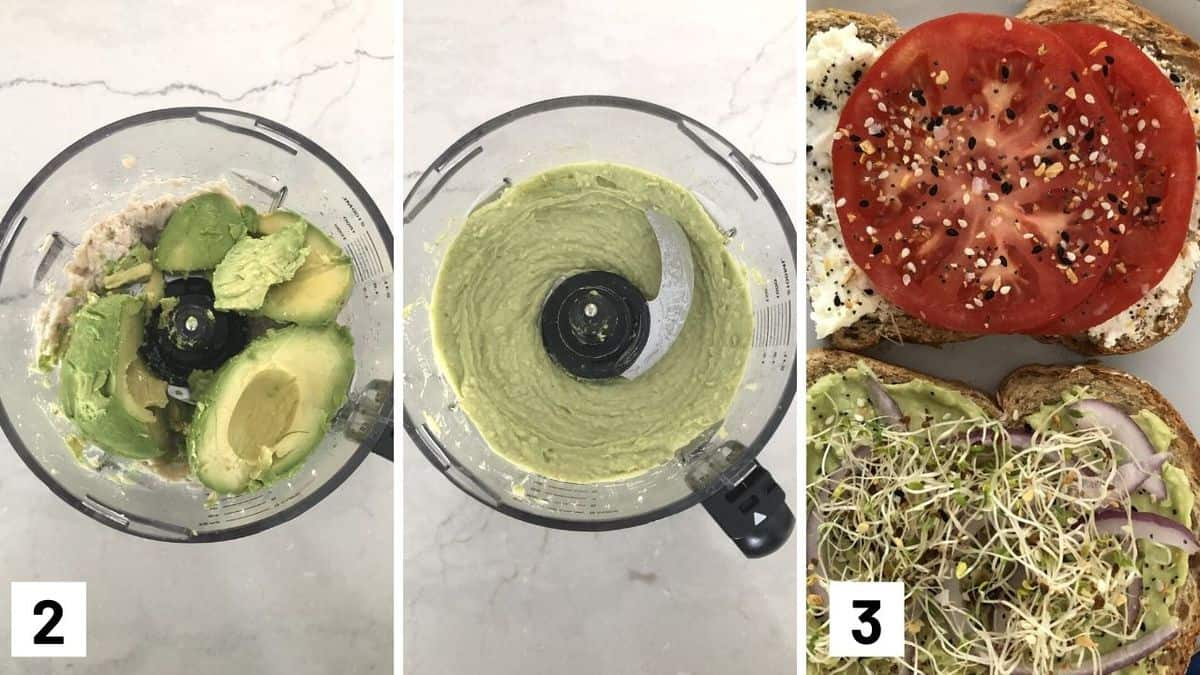 Set of three photos showing avocado added to the food processor and then assembling.