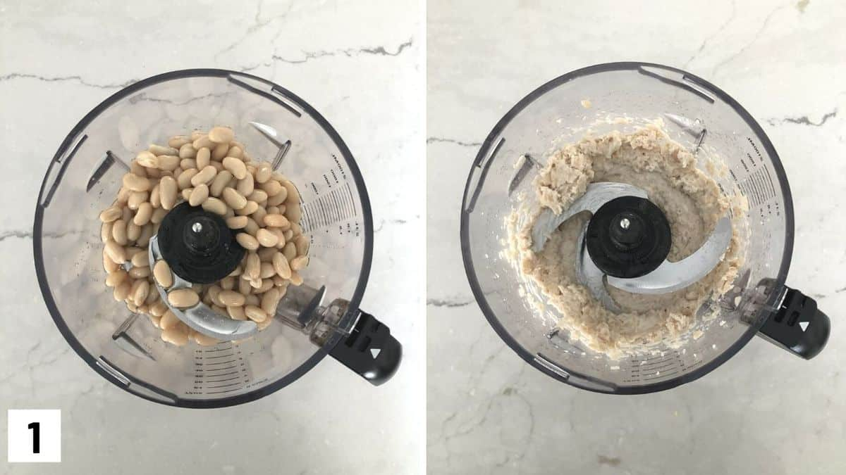 Set of two photos showing beans being pureed.
