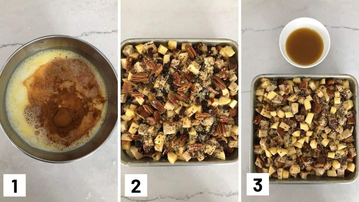 Set of three photos showing how to make french toast casserole.