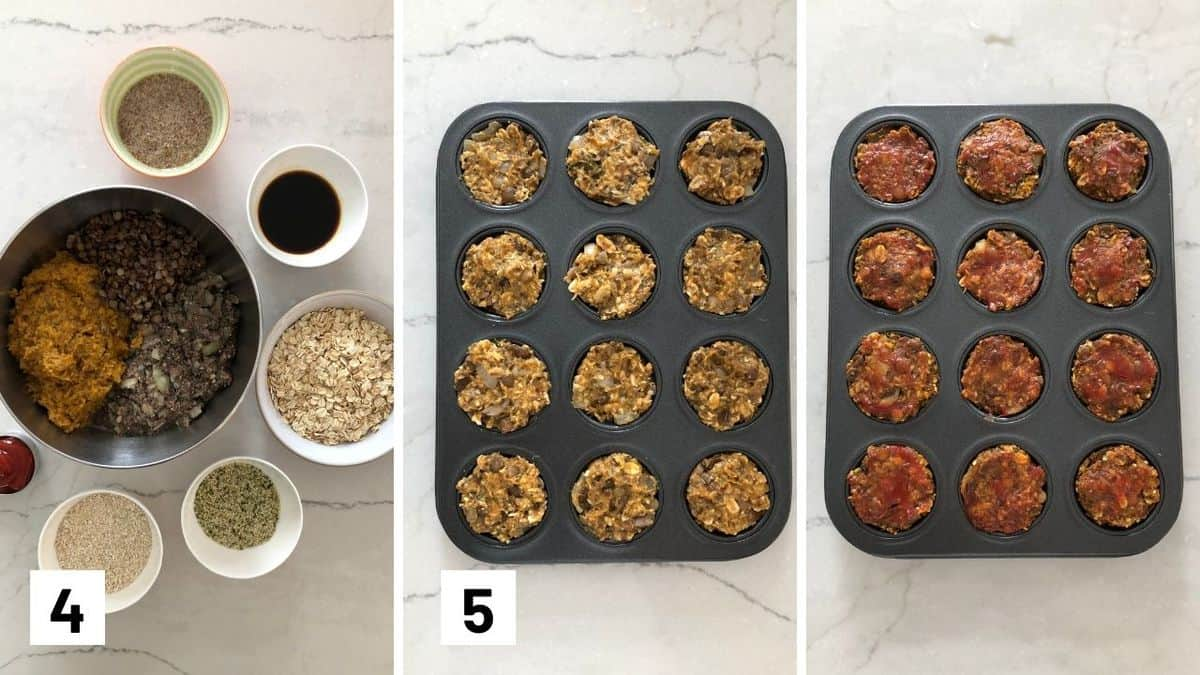 Set of three photos showing making the meatloaf mixture in a bowl, pressing it into a muffin tin, then topping with ketchup.