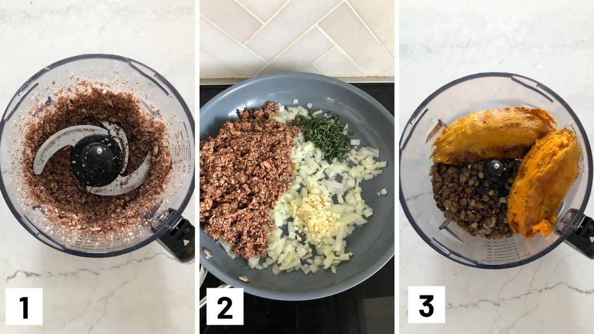 Set of three photos showing processing mushrooms, sautéing the onions, garlic, mushrooms, and thyme, and food processing lentils and sweet potatoes.