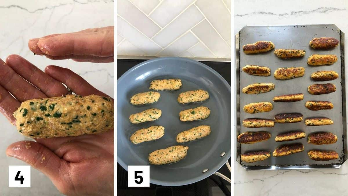 Set of 3 photos showing shaping salmon fitters before pan frying and baking them.
