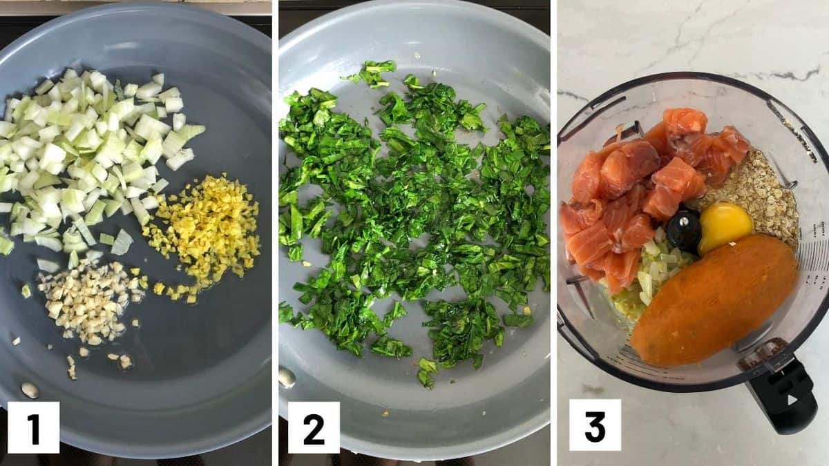 Set of 3 photos showing sauteing the ingredients for fritters before adding them to a food processor.