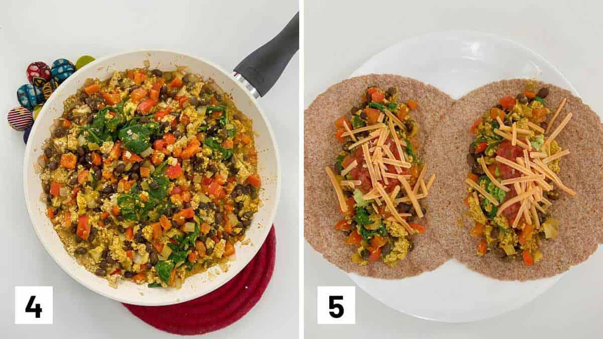 Set of two photos showing turmeric soy milk mixture added to the skillet and then plated on tortillas.