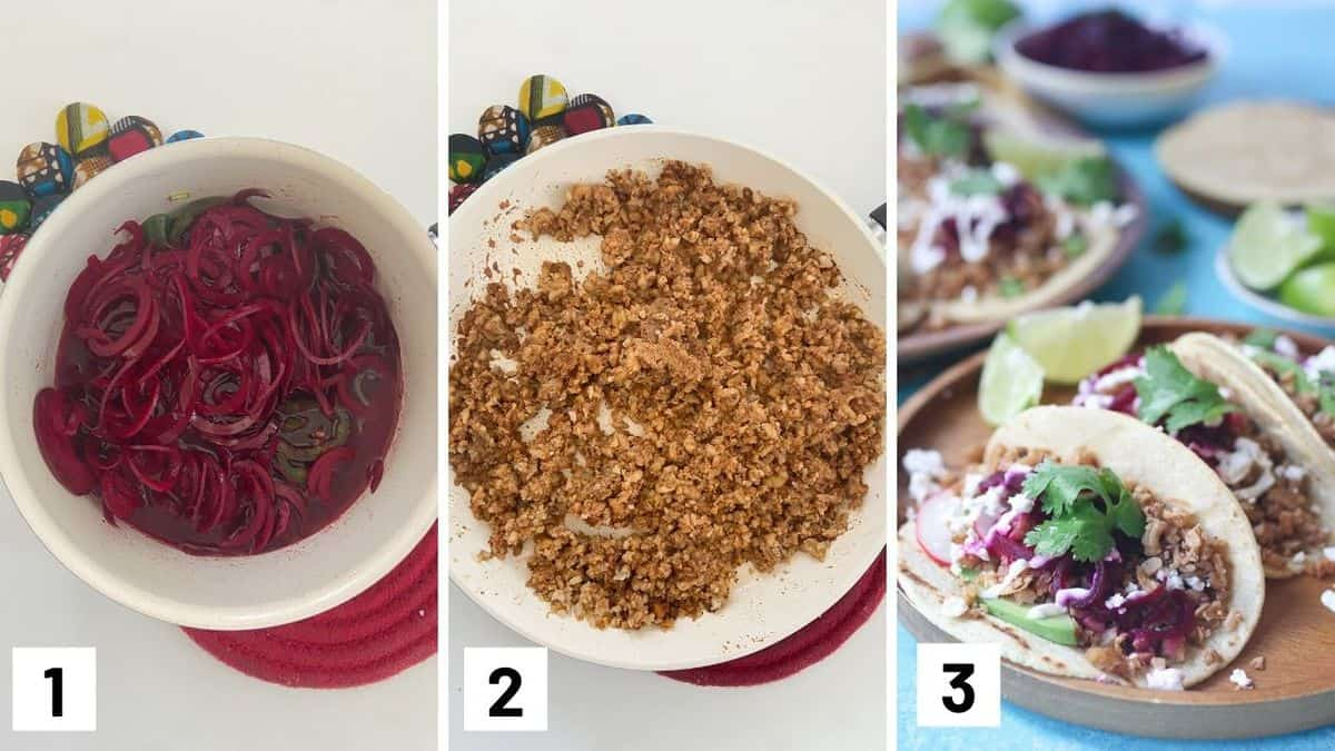 Set of three photos showing how to quickly pickle ingredients, sauteing the walnut filling, and assembling the tacos.