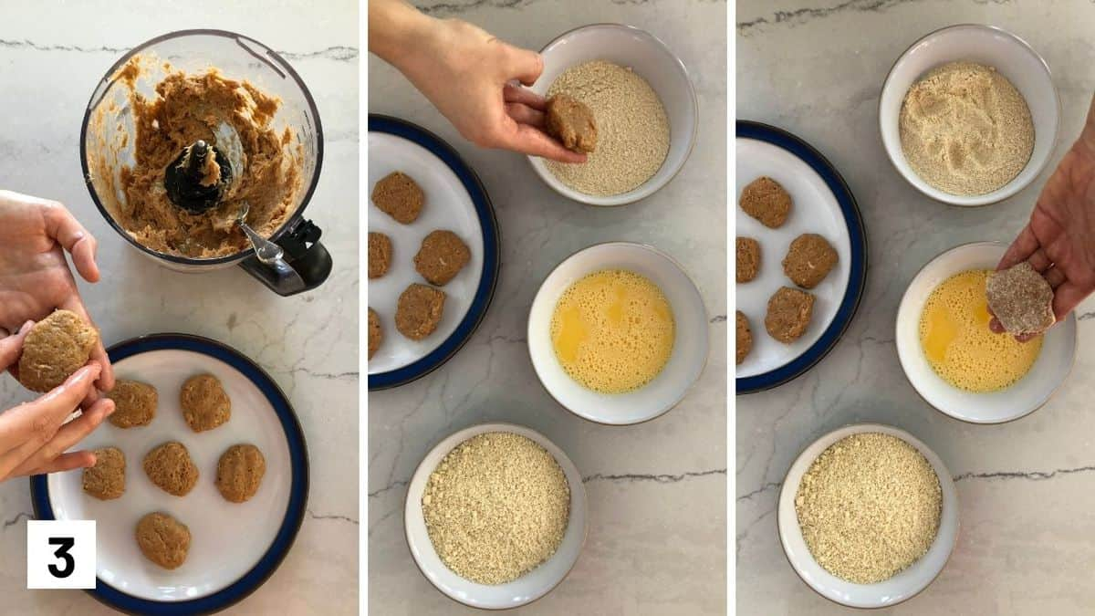 Set of three photos showing shaping the chicken nuggets and then breading them.