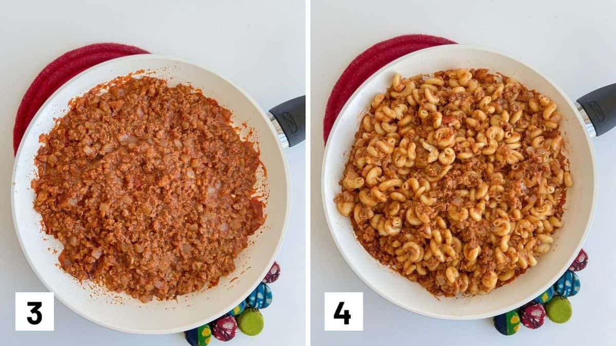 Set of two photos showing cooking down sauce for beefaroni and adding in the cooked pasta to the sauce.