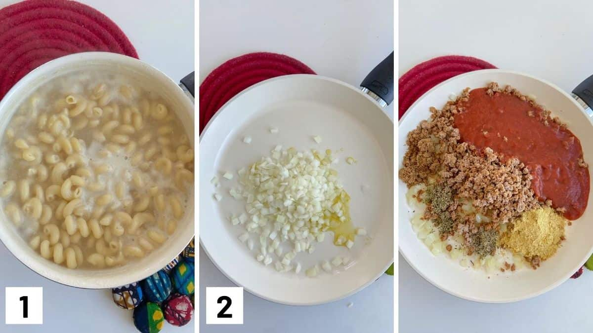 Set of three photos showing cooking pasta, sauteing onions, and adding in sauce, nutritional yeast, and vegan beef into a pan.