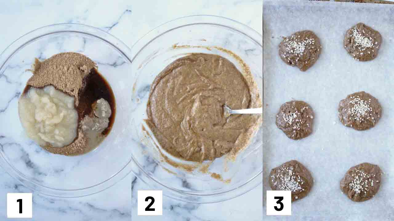 Three side by side images showing how to prepare cookie batter and putting cookies on baking sheet.