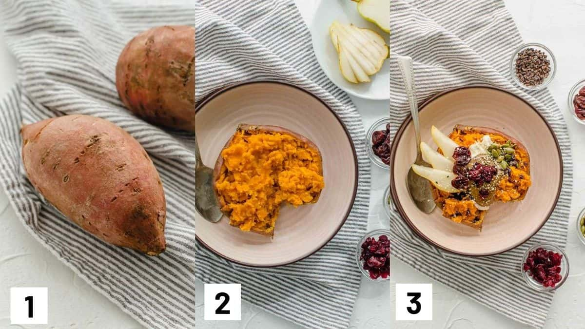 Three side by side images showing how to prepare recipe including heating yam and adding recipe toppings.