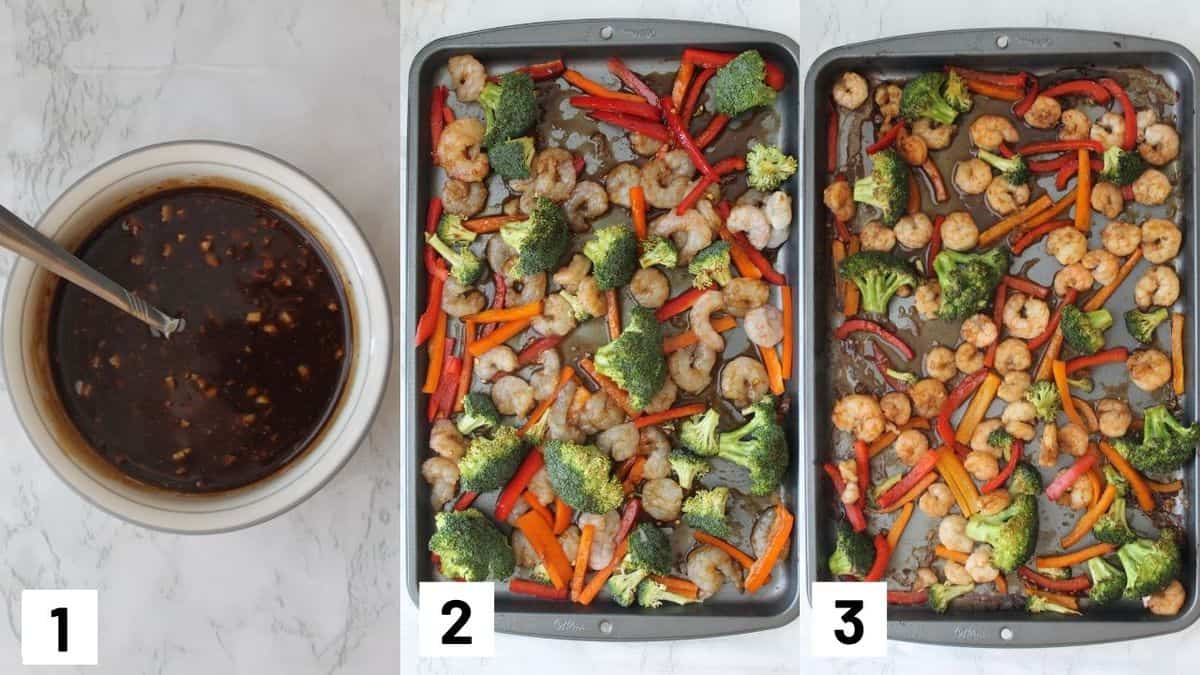 Three side by side images showing how to prepare the sauce and the sheet pan.