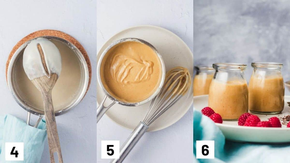 Three side by side images showing how to prepare dessert mixture.