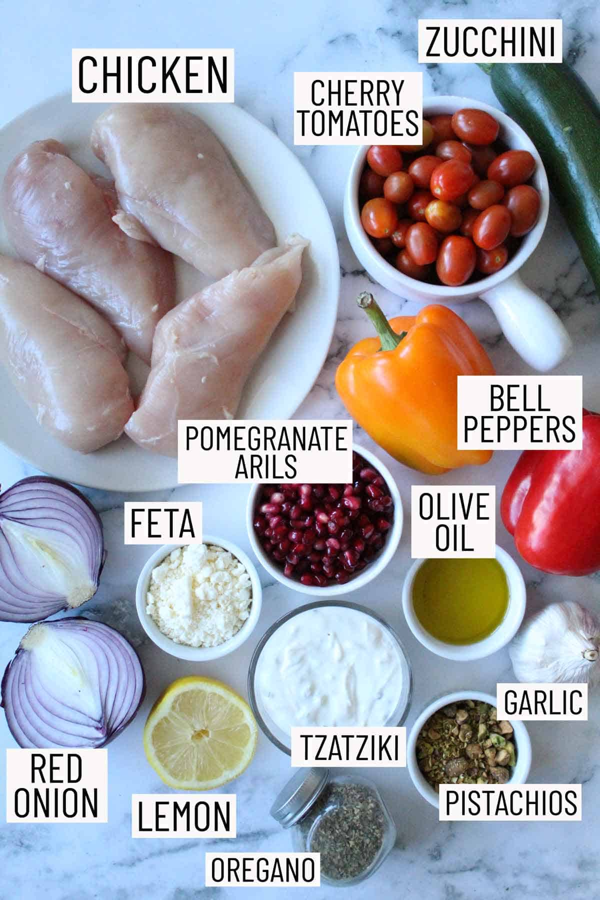 Overhead image for ingredients for a sheet pan dinner.