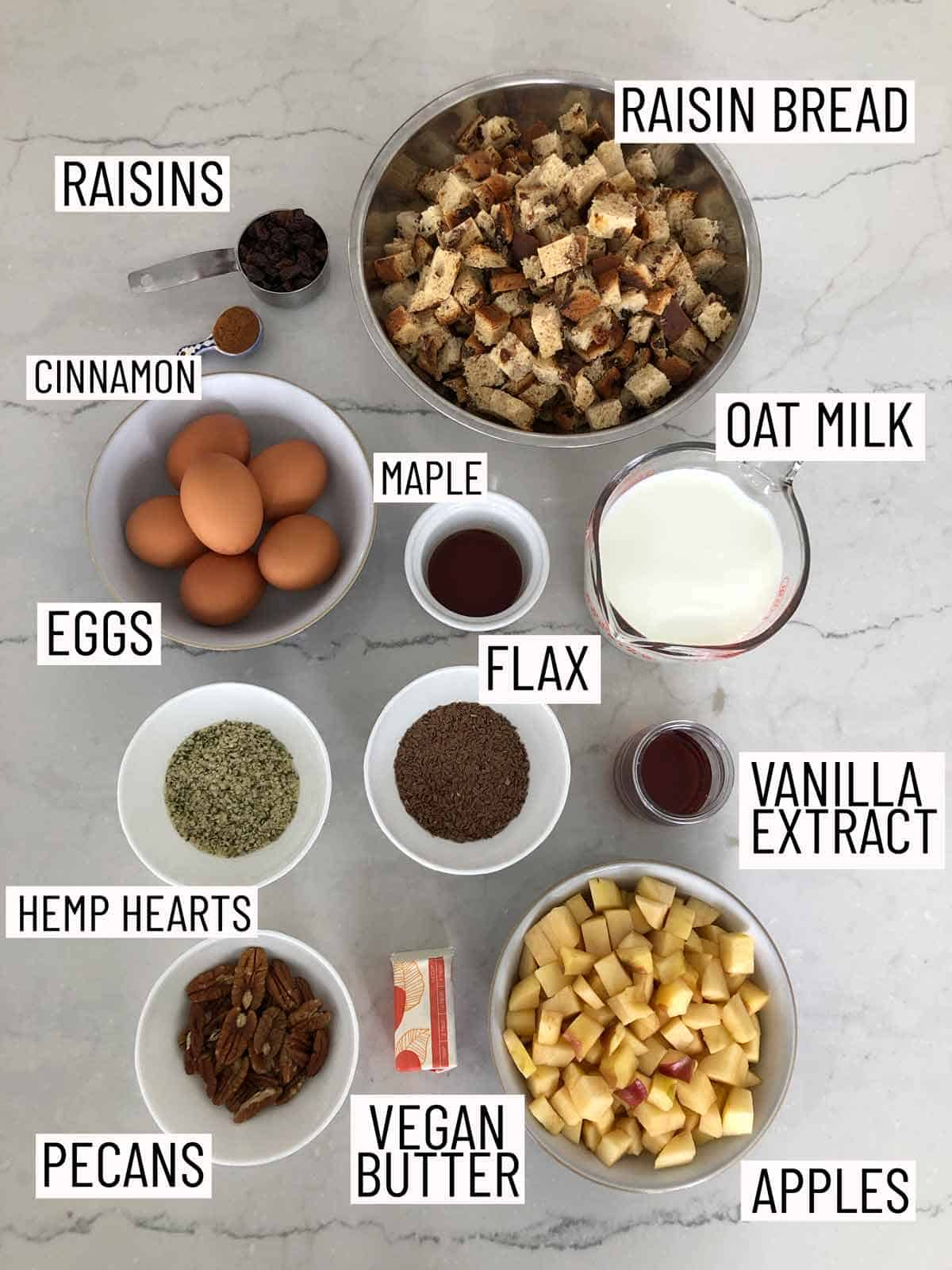 Overhead view of ingredients needed to make a french toast casserole.
