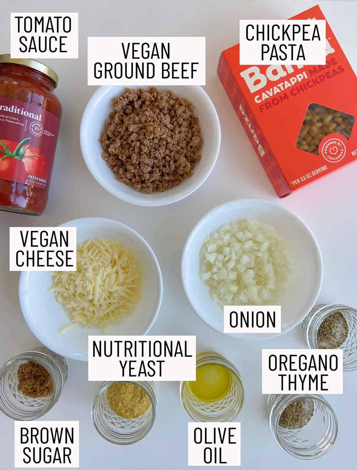 Overhead view of ingredients needed to make vegan beefaroni.