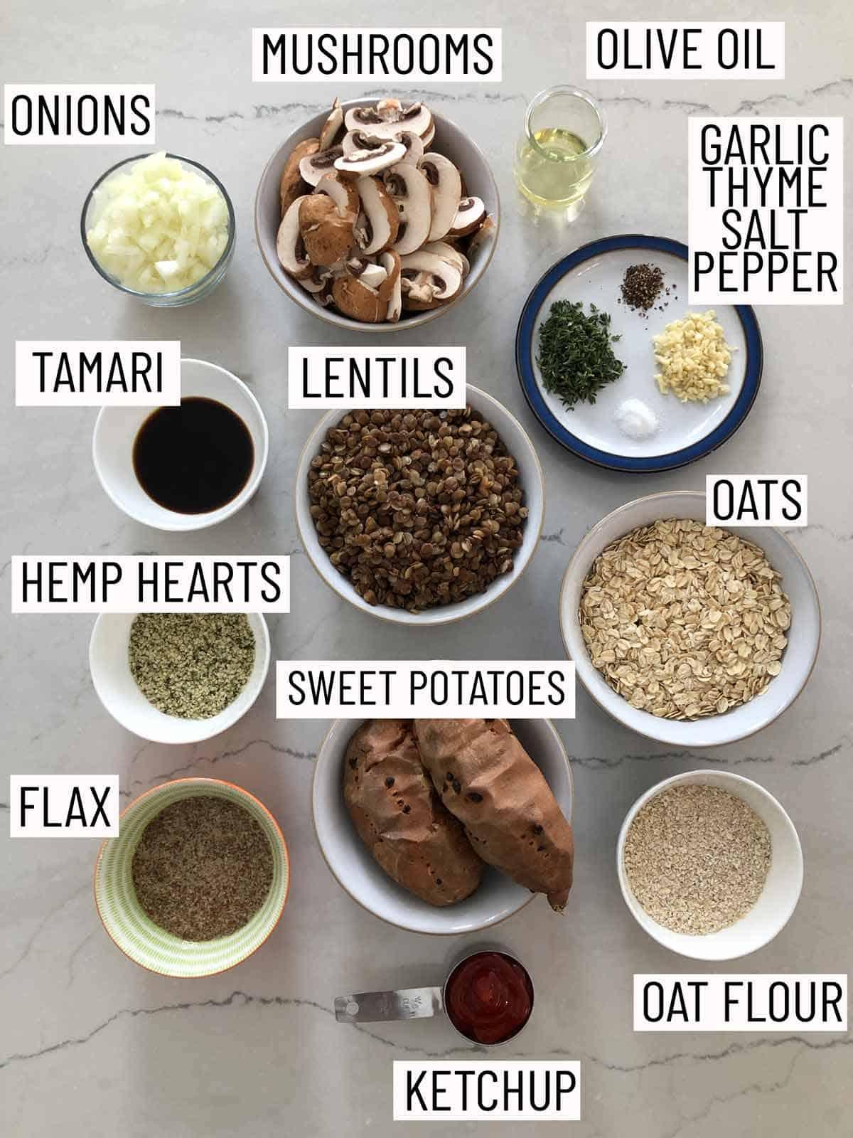 Ingredients needed to make BLW vegan lentil meatloaf.