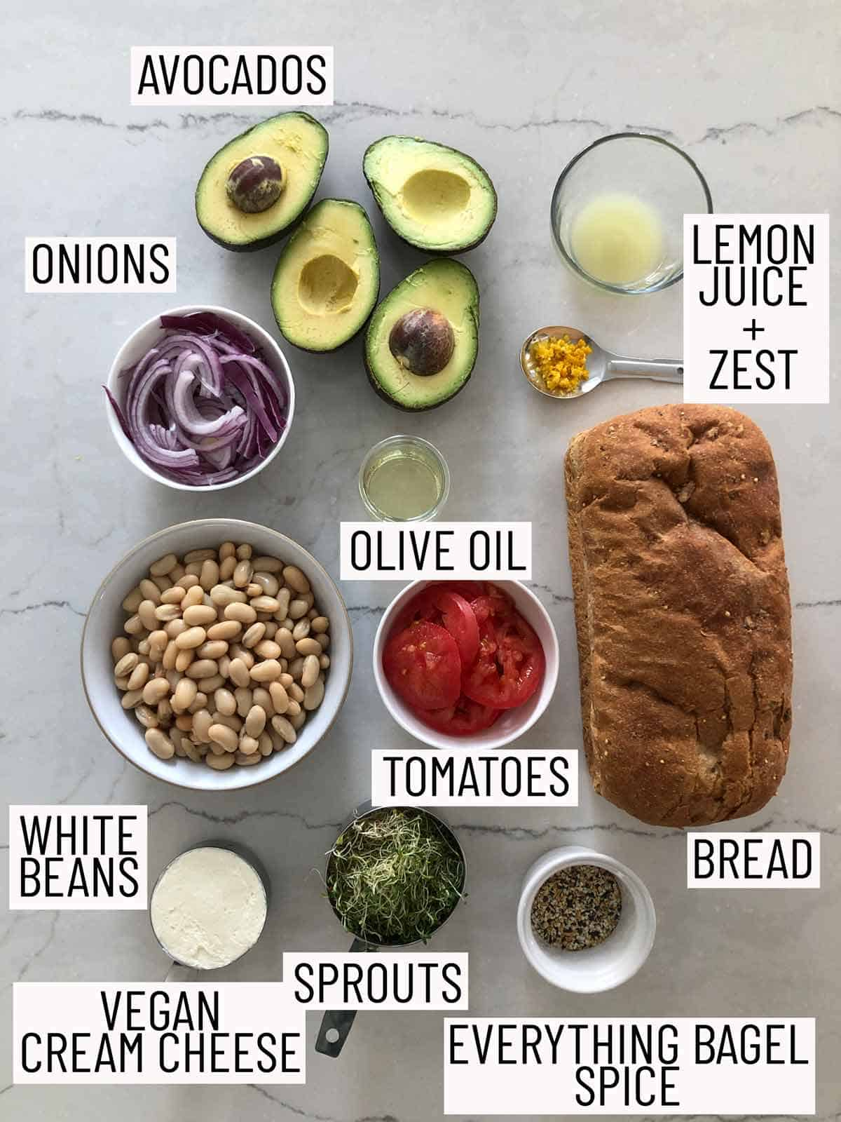 Ingredients required for a vegan bean sandwich.