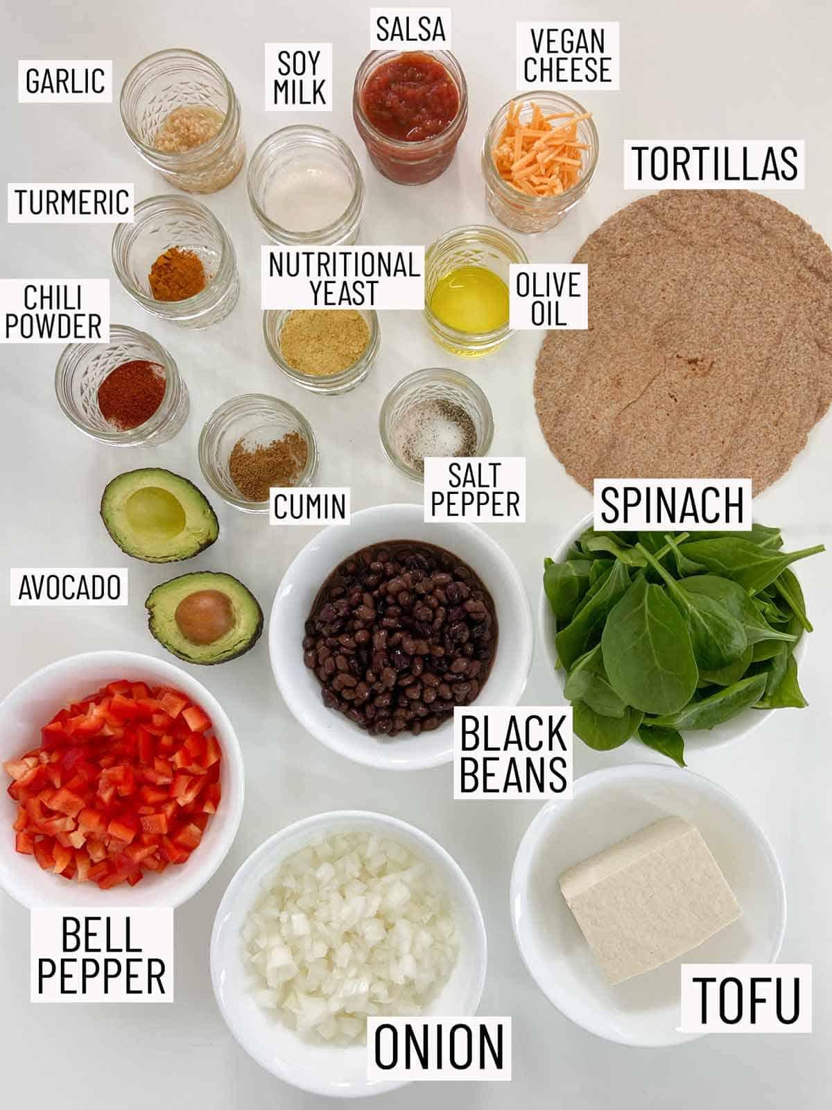 Overhead photo of ingredients needed to make vegan breakfast burritos.