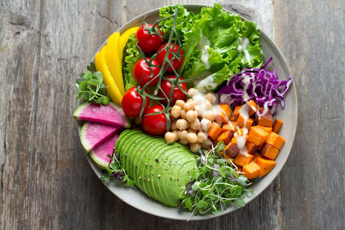Birds eye view of a plant-based meal for those following the type A blood type diet.