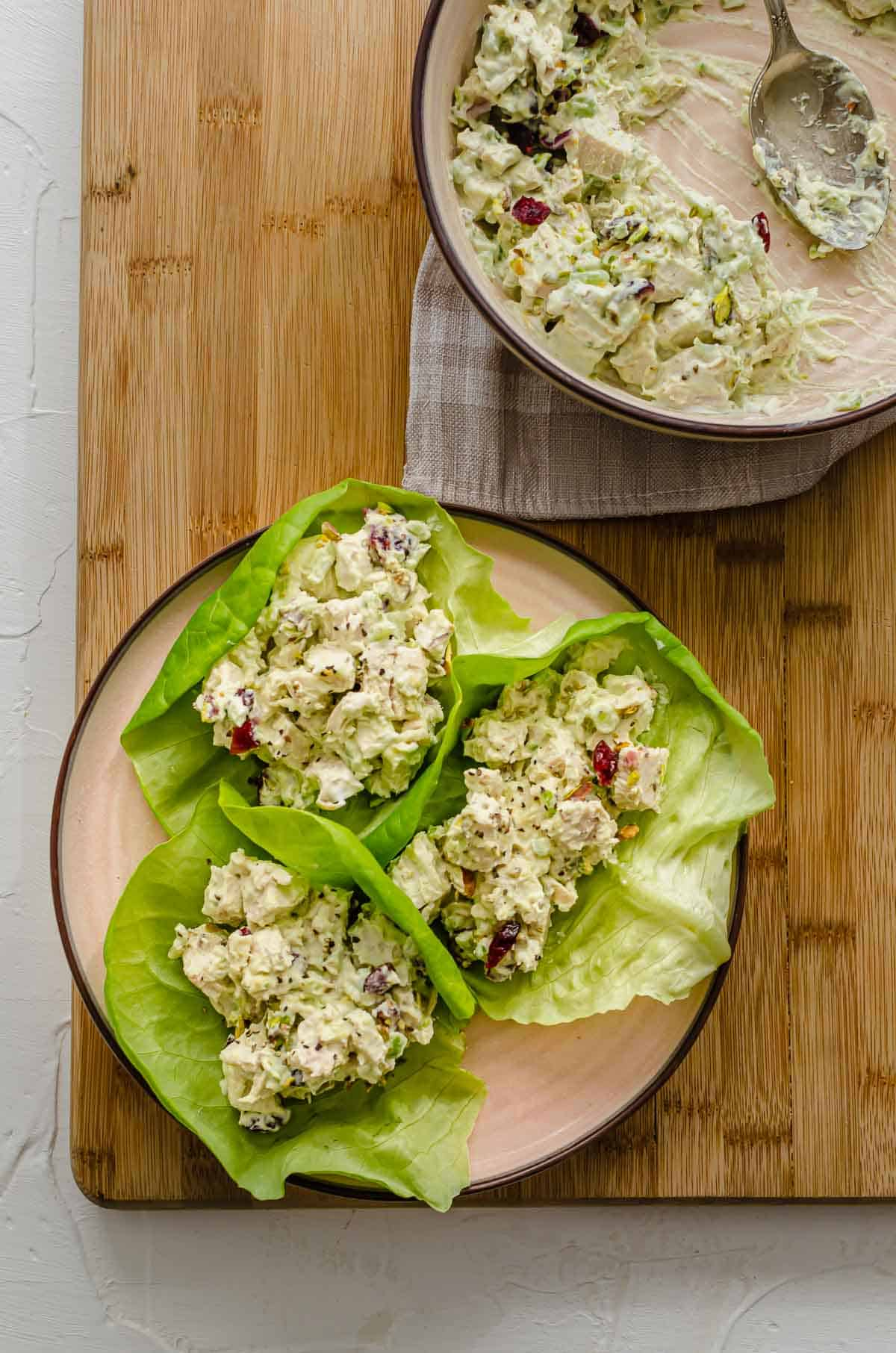 Birds eye view of chicken salad in a lettuce cup.