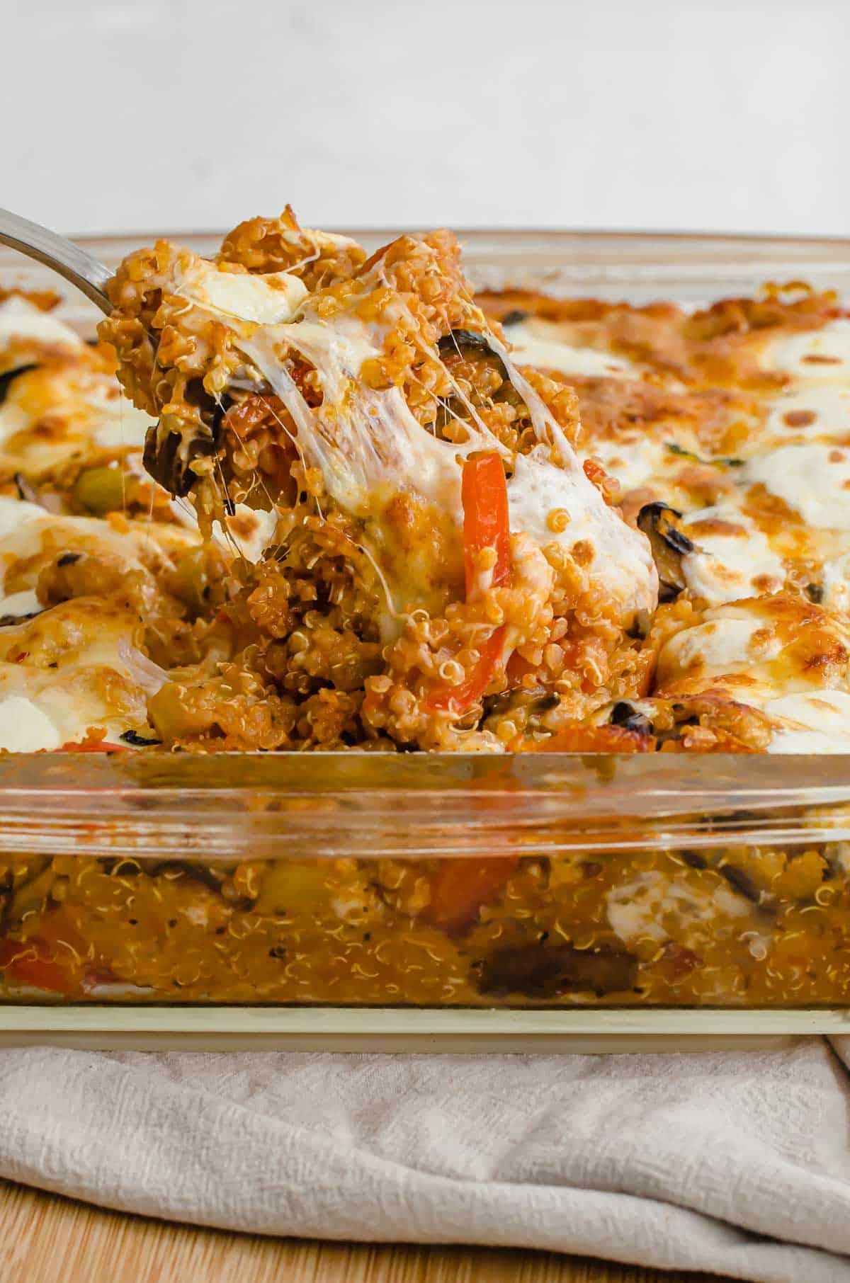 Close up of easy pizza casserole  in a casserole dish.