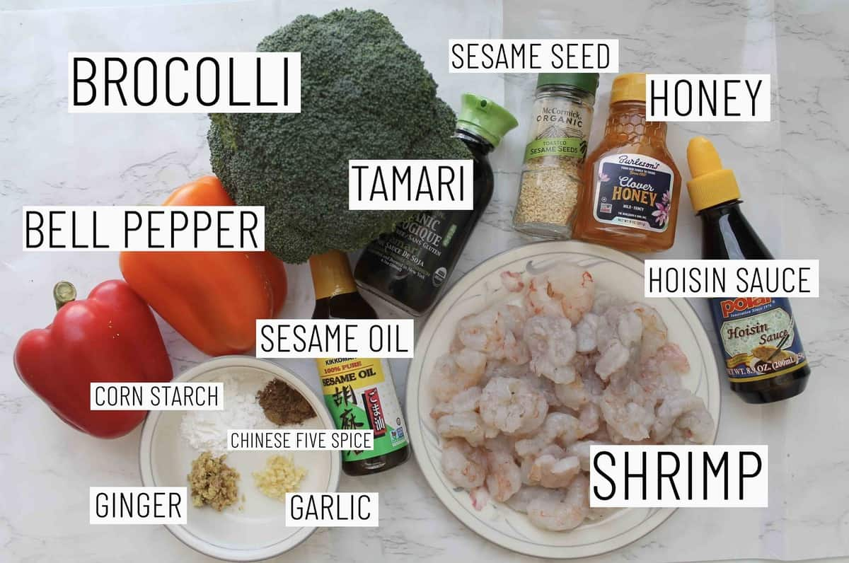 Flat lay image showing portioned recipe ingredients.