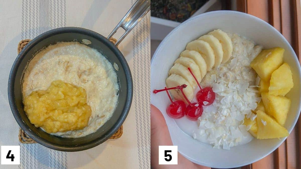 Two side by side images showing how to add bananas into oats and garnishing with sliced bananas, cherries, and pineapple.