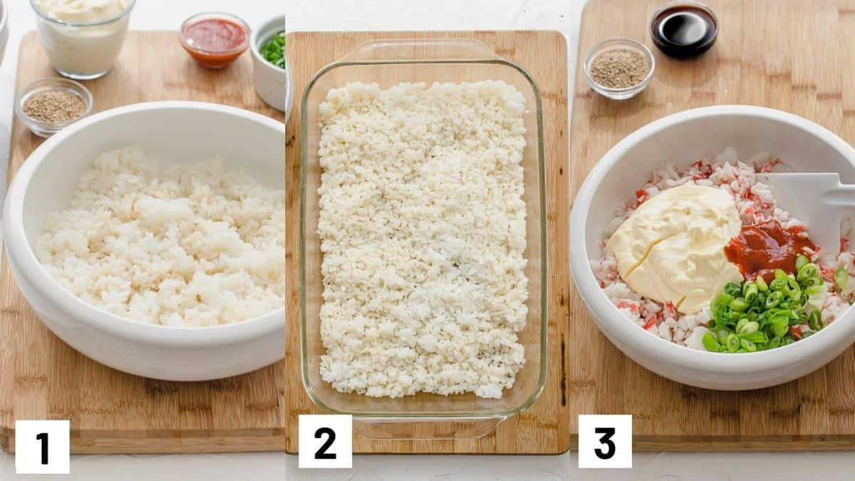 Three side by side images showing how to prepare sushi rice and crab mixture.